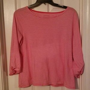 Talbots pink and white stripe top.